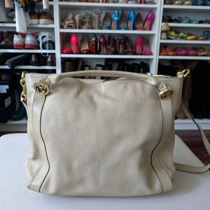 GUCCI Pebbled Leather Miss GG Satchel Tote Bag